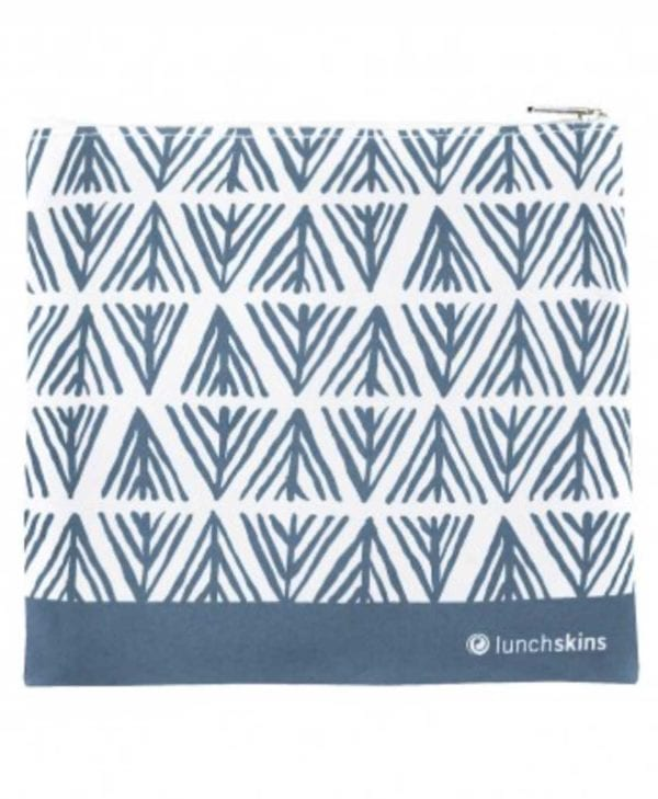 Lunchskins frugtpose lynlås blå geometri