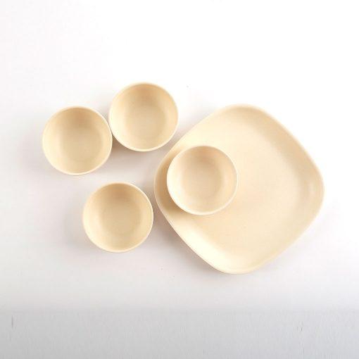 Ekobo Fresco fire små skåle sæt hvid