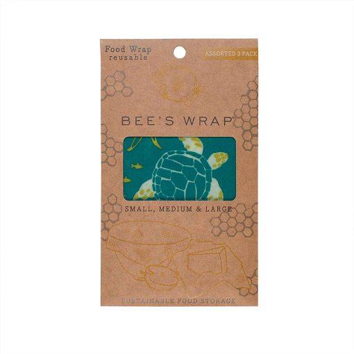 Bees wrap genbrugelig madindpakning 3 størrelser Ocean