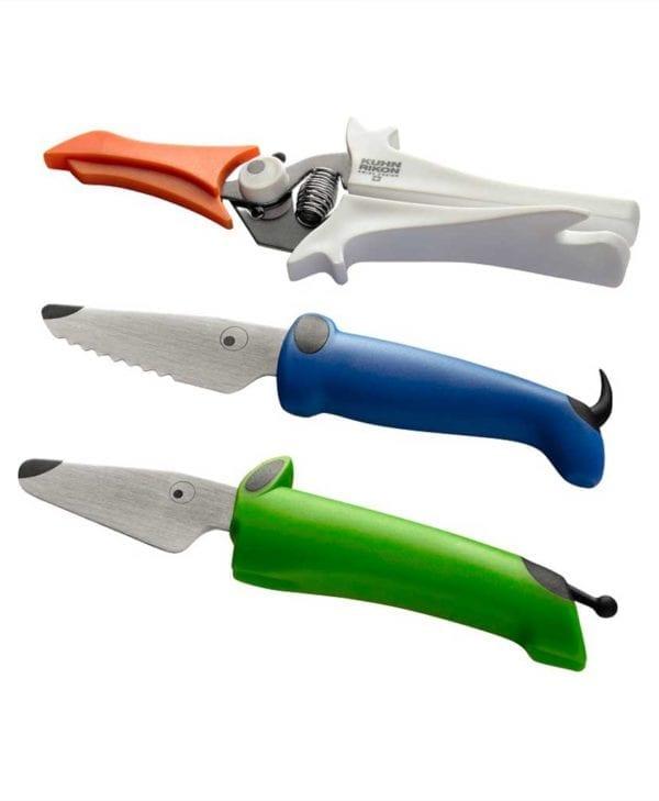 Kinderkitchen børn knivsæt med saks grøn og blå