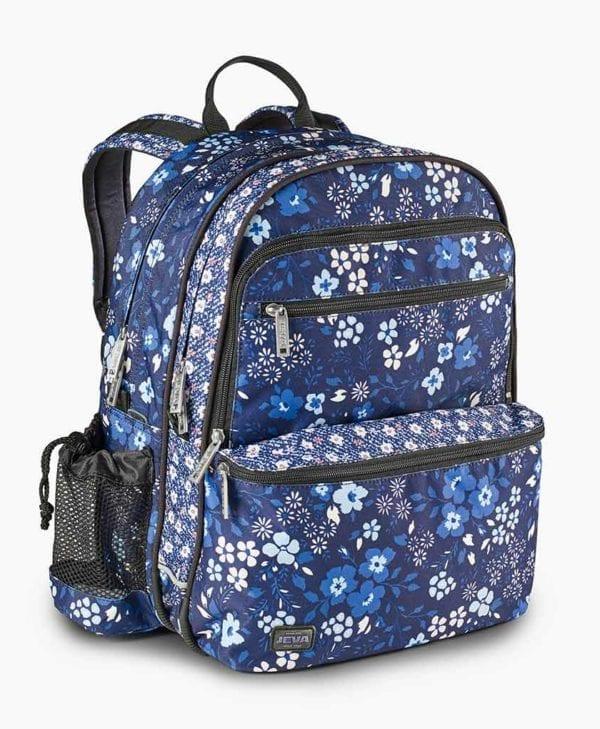 Jeva skoletaske med blå blomster