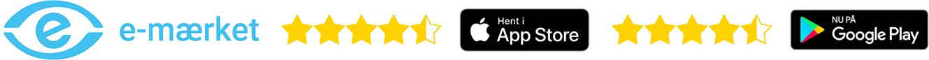 eMærket og topanmeldt i App Store og Google Play